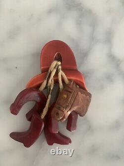 Bakelite Western Horse Brooch Pin Vtg