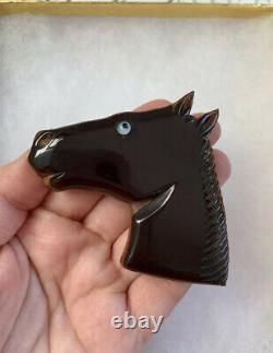 Bakelite brooch Horse Head Carved on Dark Brown Wood Lucite aye Pin Vintage
