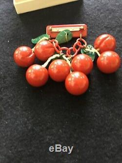 Bakelite vintage cherry pin