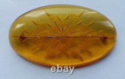 Beautiful RaRe Vintage 1930's Back Carved OVAL APPLE JUICE BAKELITE PIN