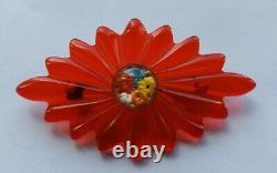 Beautiful RaRe Vintage 1940's RED PRYSTAL with FLOWERS BAKELITE PIN