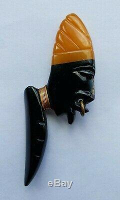 Beautiful RaRe Vintage AFRICAN MAN BAKELITE PIN