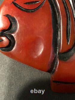 Beautiful Rare Vintage Bakelite Large Carved Ethnic Head Pin Brooch