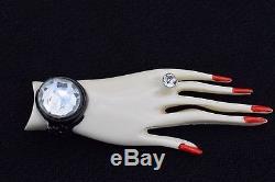 Beautiful Vintage Painted & Jeweled Plastic Elegant Hand Pin Brooch