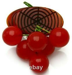 Best Antique 1930s Bakelite Log Dangling Red Cherries Brooch Pin Book Piece
