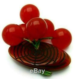 Best Vintage Bakelite Cherry Red Dangling Cherries Overdyed Log Brooch Pin -Mint