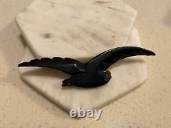 Black Bird Bakelite Authentic 1940s Large Pin Brooch Vintage