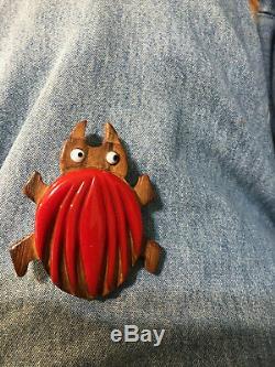Bug Vintage pin brooch carved wood bakelite whimsy google eyes huge vintage fat
