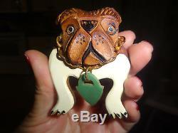 Bulldog Pair Of Bakelite Wood Pins French W Dog Tags Old Vintage Retro Best