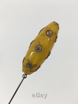 Butterscotch Bakelite Antique Hat Pin with Jewels Yellow 6 Long Vintage