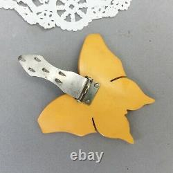 Butterscotch Bakelite Butterfly Clip Dress Fur Pin Vintage 2 1/2 Mid Century