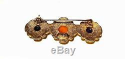 CHANEL VTG Imitation Colored Gemstone Cabochon Beads in Gold PL Bar Brooch Pin