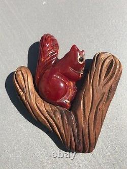 Carved Bakelite and Wood Squirrel on Branch Vintage Original Pin Brooch