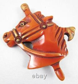 Charming Vintage Bakelite Carved Overdyed Horse Pin
