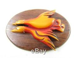 Charming Vintage Butterscotch Overdyed Bakelite Wood Double Duck Pin