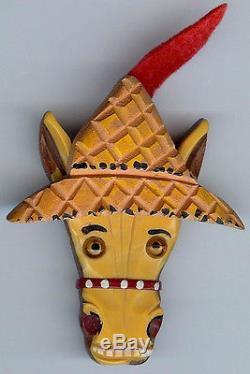 Charming Vintage Wood & Yellow Bakelite Era Donkey With A Feather In His Cap Pin
