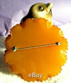 Chunky Vintage Art Deco Carved Butterscotch Bakelite Flower Silver Pin Brooch