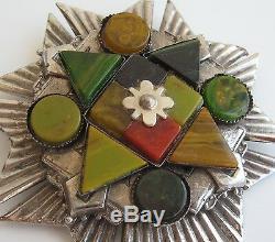 Chunky Vtg Bakelite Pin Butterscotch Green Gold Carnelian Marbled Maltese Star