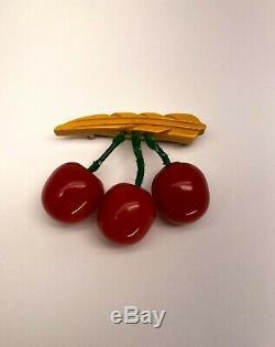 Circa 1940's Vintage Carved Cream Corn and Cherries Bakelite Pin /Brooch