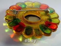 Colorful Circle 2 1/2 Round Bakelite Pin guaranteed Vintage
