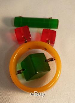 Colorful Vintage BAKELITE Pin Brooch Geometric Dangles Cubes