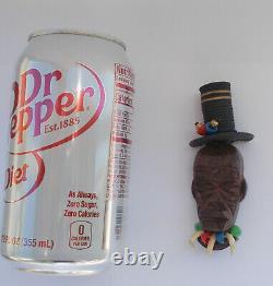 Coolest Vintage Bakelite Era Wood Carved Voodoo Witch Doctor Brooch Pin