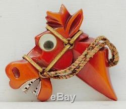 Cute Bakelite Googly Eyed Horse Head Pin Brooch Art Deco Equestrian Big Eyes Vtg