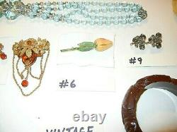 EXC LOT of 11 VTG Jewelry PCS NECKLACES, PINS, HASKELL, PENNINO, BAKELITE
