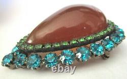 EXQUISITE Applejuice BAKELITE Blue & Green Rhinestone Vintage Pin