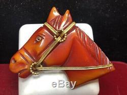 Estate Rare Vintage Bakelite Red Horse Pin Brooch Gold Rein Carved Mane Art Deco