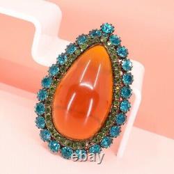 Exquisite, Vintage, Bakelite Brooch/pin, Blue/green Rhinestones, Large