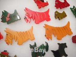 FABULOUS COLLECTION of 19 Vintage CARVED BAKELITE DOG PINS Pin LOT