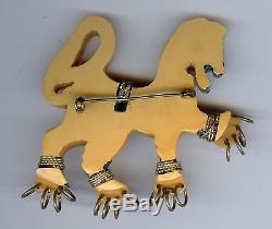 Fabulous Large Vintage Carved Bakelite Heraldic Lion Brooch Pin