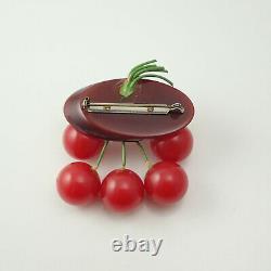 Fabulous Vintage Bakelite 6 Cherry Carved Log Dangle Pin Brooch