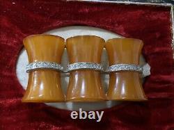 Genuine Vintage Art Deco Butterscotch Bakelite Rhinestone Pot Metal Brooch Pin