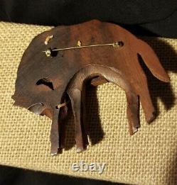 Giant Vintage Bakelite Era Carved Wood Western Horse Folk Art Brooch Pin