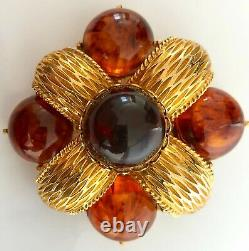 Gorgeous CADORO Signed Vintage Bakelite Faux Tortoise Shell Brooch, Pin, Jewelry