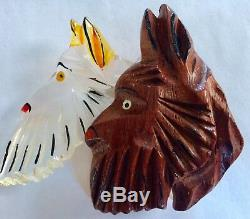 Great 4 Pc Collection Vintage Lucite Wood Dog Pin Figurals Vip Brooches Poodle
