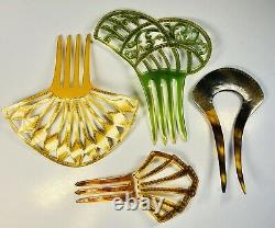 Group of 4 Antique 1920s Deco Jeweled Bakelite Hair Pins
