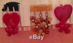 HTF VTG BAKELITE Red HEART (PRYSTAL) Dangling Carved CHERRIES Brooch Pin Tested