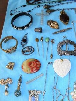 HUGE Antique VICTORIAN & Art Deco JEWELRY Table LOT Necklaces Pins Rings +