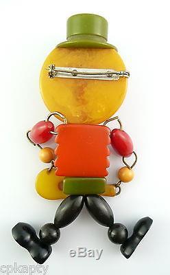 HUGE Vintage 1930s Multicolor BAKELITE Jointed UKELELE PLAYING MAN Brooch PIN