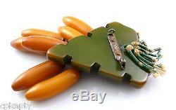 HUGE Vintage 1940s 7 Bakelite BANANAS on Tropical Leaf Design Brooch Pin RARE