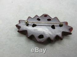 HUGE Vintage Deep Carved Cherry Red Amber Bakelite Roses Brooch Pin Thick Chunky