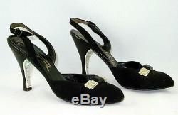 Herbert Levine 7.5 Black Suede Pin Up VLV White Bakelite Rhinestone Heels Retro