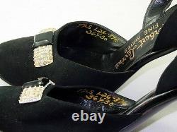 Herbert Levine 7.5 Black Suede Pin Up VLV White Bakelite Rhinestone Heels Vtg