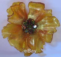 Huge Vintage Glittery Transparent Celluloid Rhinestone Center Poppy Flower Pin