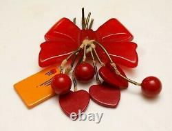ICONIC RED BAKELITE BOW PIN VTG Cherries Hearts Letter Envelope Charms Dangly