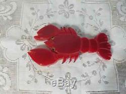 JL Foltz Vintage Bakelite Lobster Brooch Pin Signed Large 3.75