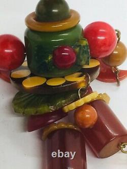 Jan Carlin Vintage Bakelite Figure Crib Toy Beaded Dangle Pin